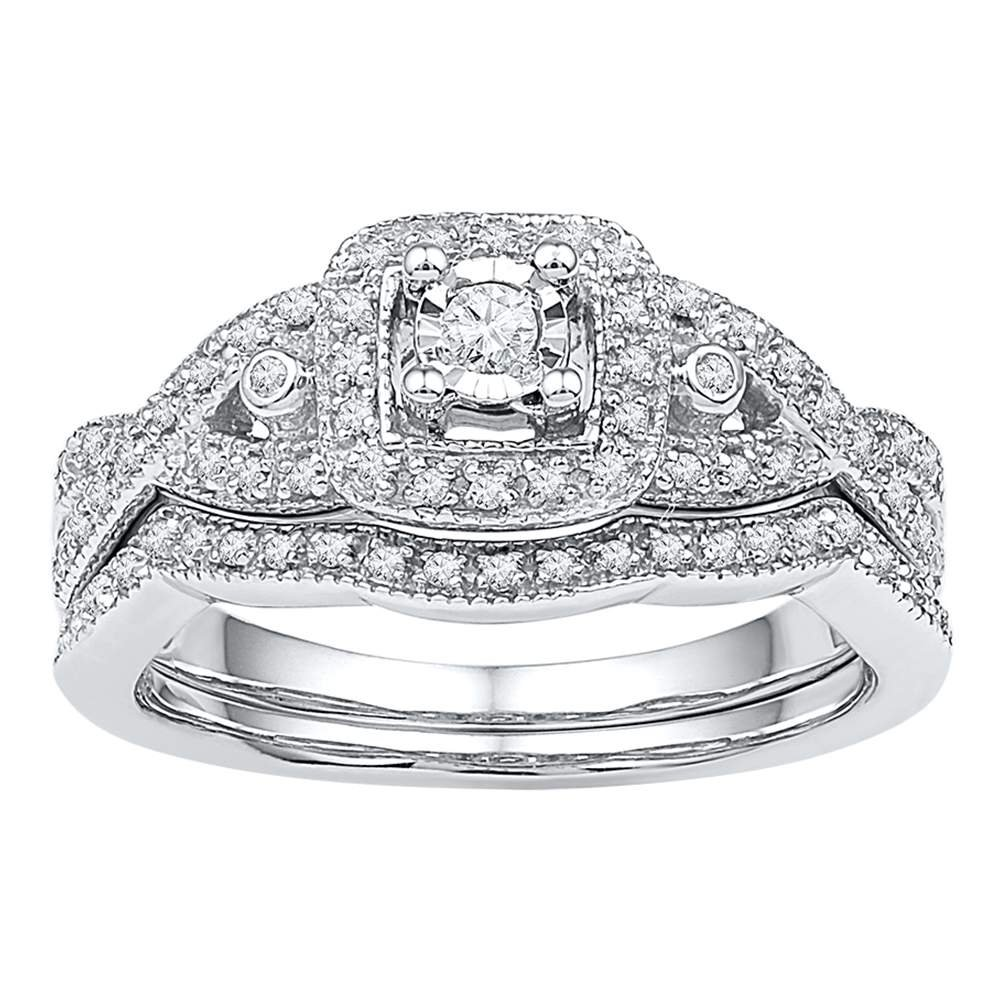 10kt White Gold Womens Round Diamond Twist Bridal Wedding Engagement Ring Band Set 1/4 Cttw