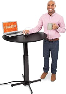 Stand Steady Round Charging Table   Height Adjustable Café Table with Built-In AC Outlets & USB Charging   Fast Charging for Multiple Devices   Great for Office, School, Library & More (31.5