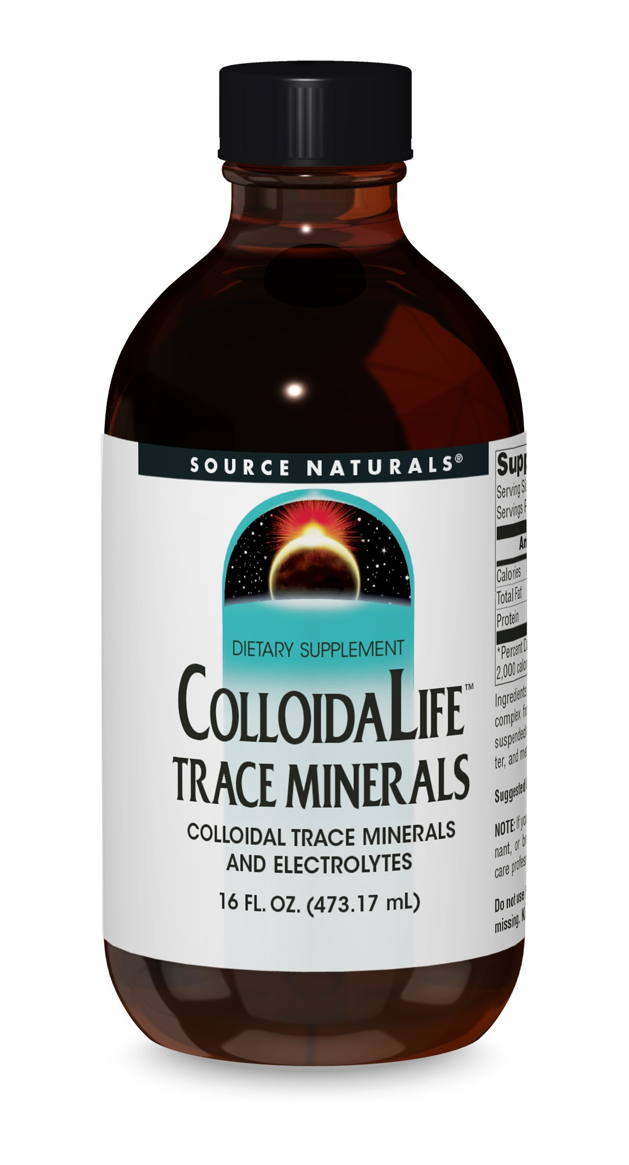 Source Naturals Colloida Life Trace Minerals Collidal Trace Minerals & Electrolytes - Dietary Supplement - Pure Source of Calcium, Chromium, Copper, Potassium, Zinc & More - 100% Pure - 16oz