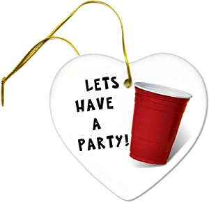 Flowershave357 Lets Have a Party Red Solo Cup Ceramic Hanging Heart Ornament