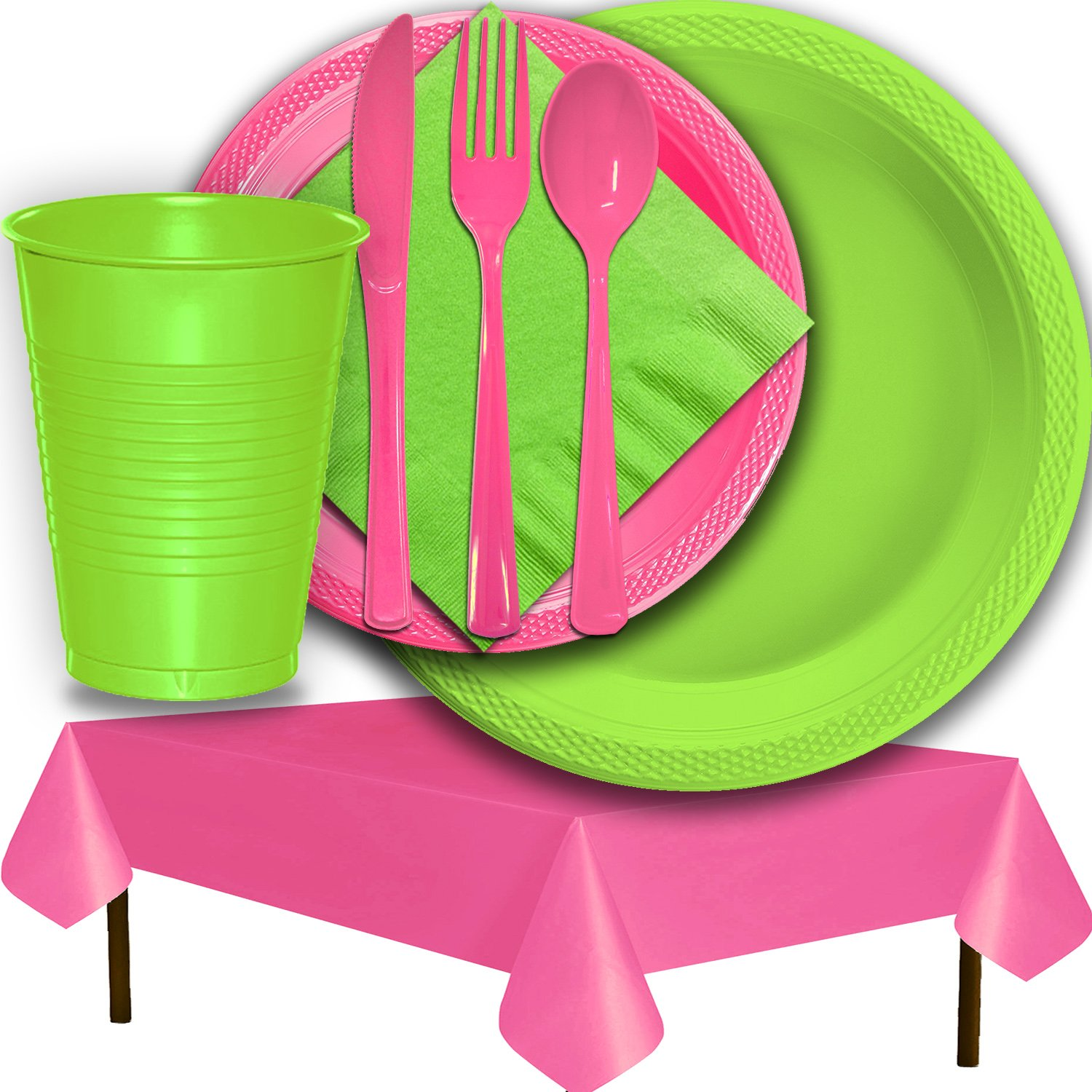 Plastic Party Supplies for 50 Guests - Lime Green and Hot Pink - Dinner Plates, Dessert Plates, Cups, Lunch Napkins, Cutlery, and Tablecloths - Premium Quality Tableware Set