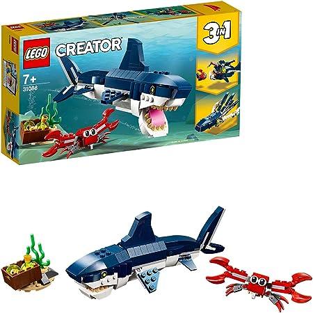 LEGO 31088 Creator 3en1 Criaturas del Fondo Marino, Tiburón o Calamar o Pez Pescador, Juguete de Construcción para Niños +7 años