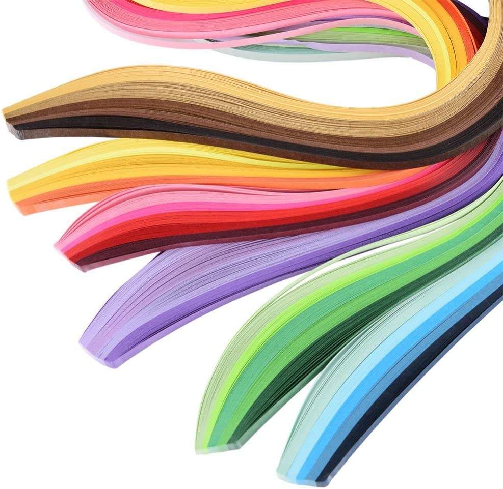 14PCS Paper Quilling Kits 6 Colors DIY Handcraft Decoration Art Paper Strips Set for Beginners Included Ruler Tweezers Cardboard