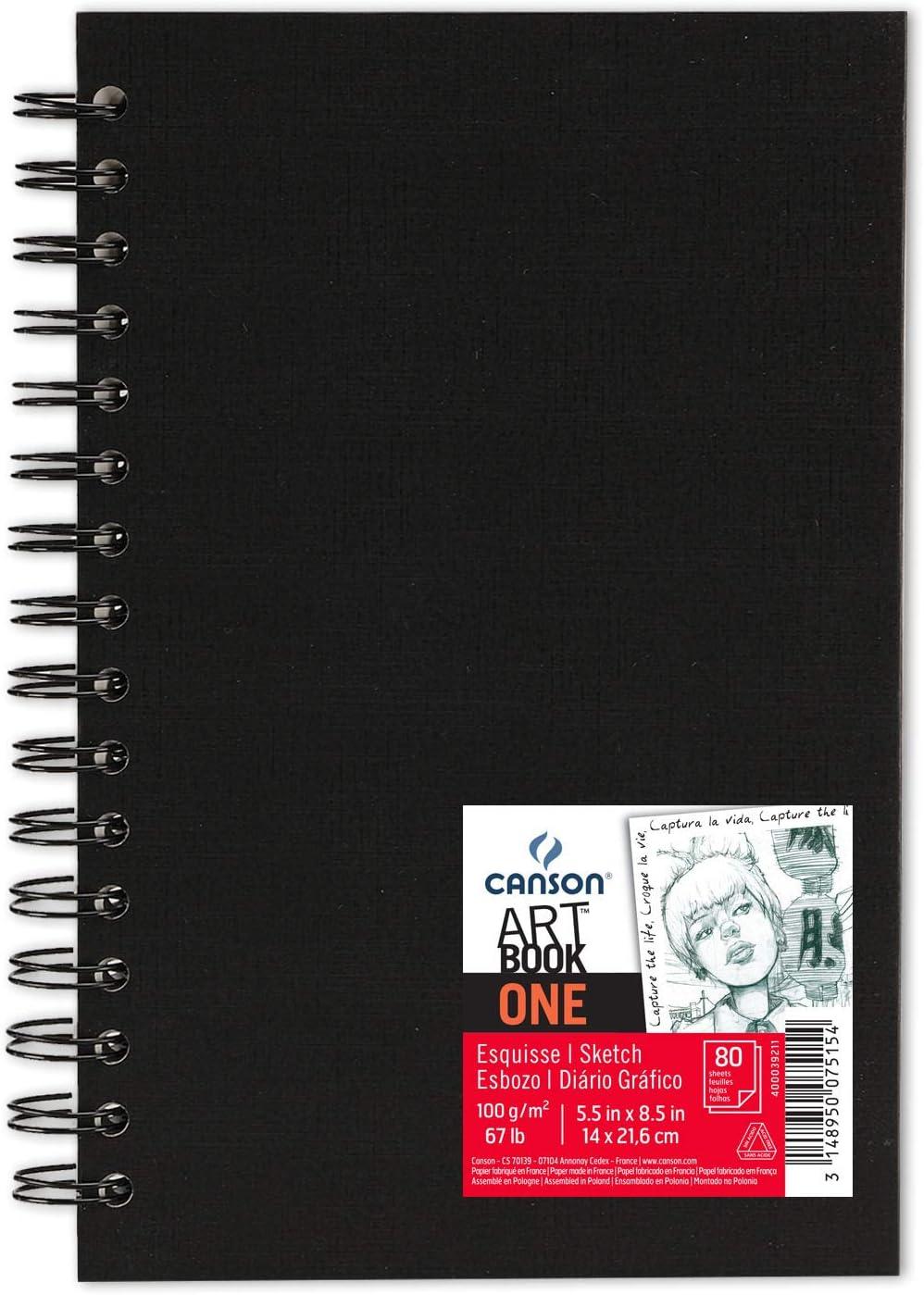 Álbum Espiral Microperforado, 14x21,6 cm, 80 Hojas, Canson Sketch One, Grano Fino 100g