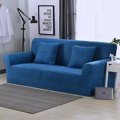 Funda elástica protectora y antideslizante de poliéster para sillones de 1, 2, 3 o 4 plazas, azul oscuro, 1 Seater:90-140cm