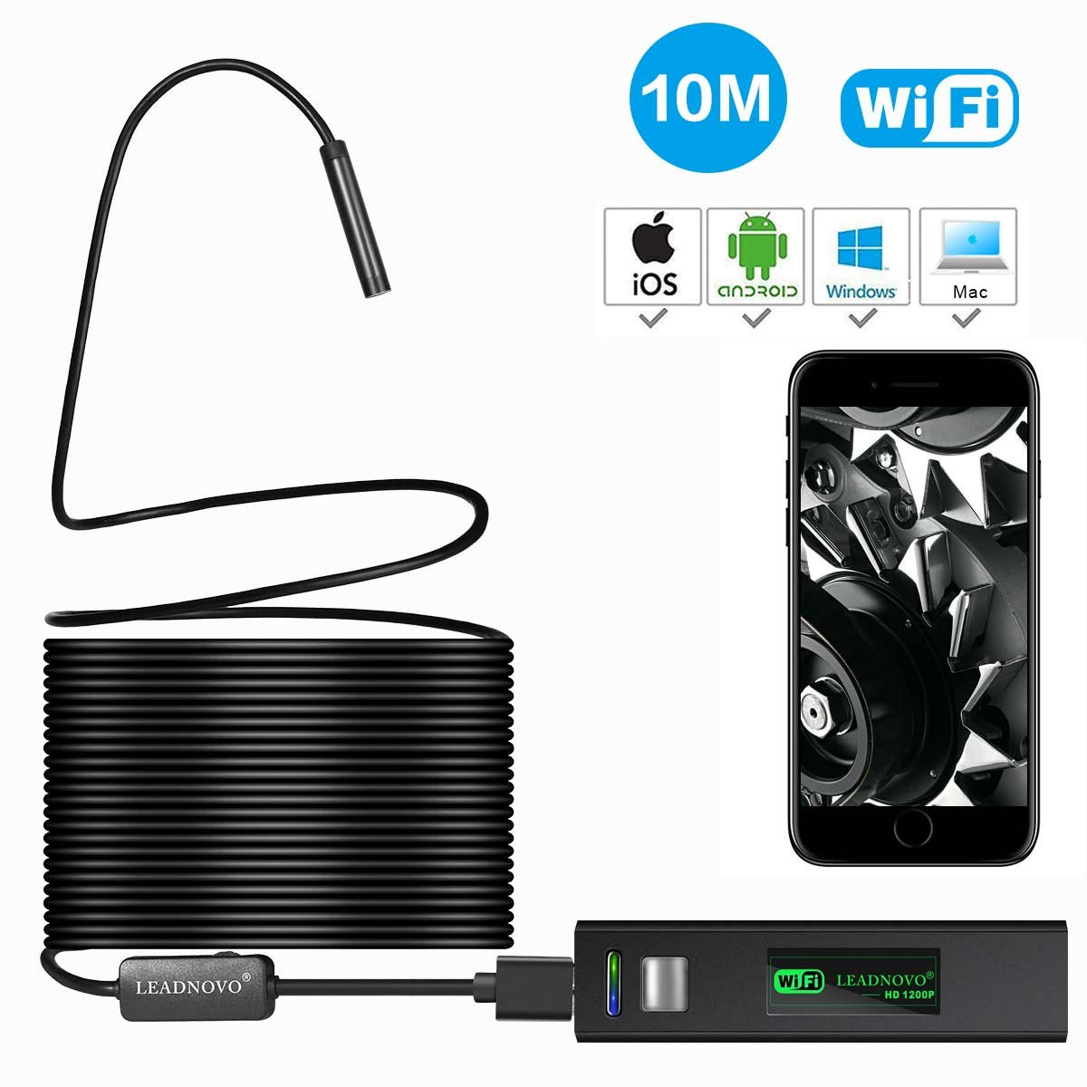 Amazon.com: Wireless Endoscope for iPhone Android, LEADNOVO WIFI ...