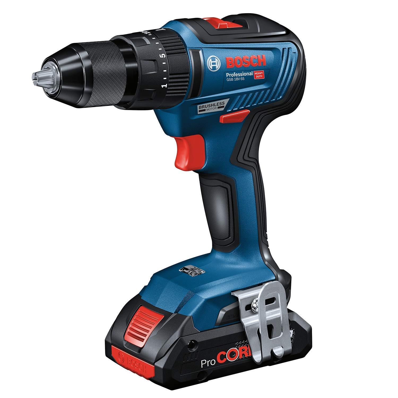 Bosch Professional 06019H5302 color azul Taladro percutor GSB 18V-55 sin bater/ía, sistema de 18 voltios, taladro de di/ámetro en mamposter/ía: 10 mm, en caja, 18 V