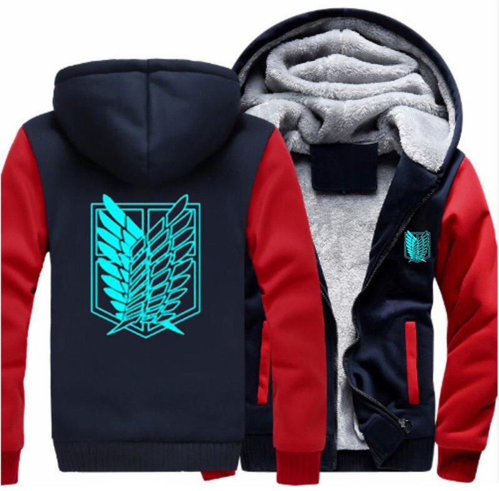 Anime Attack Titan Coat Cosplay Costume Thick Fleece Hoodie Zipper Sweatshirt Jacket (Small, Red)