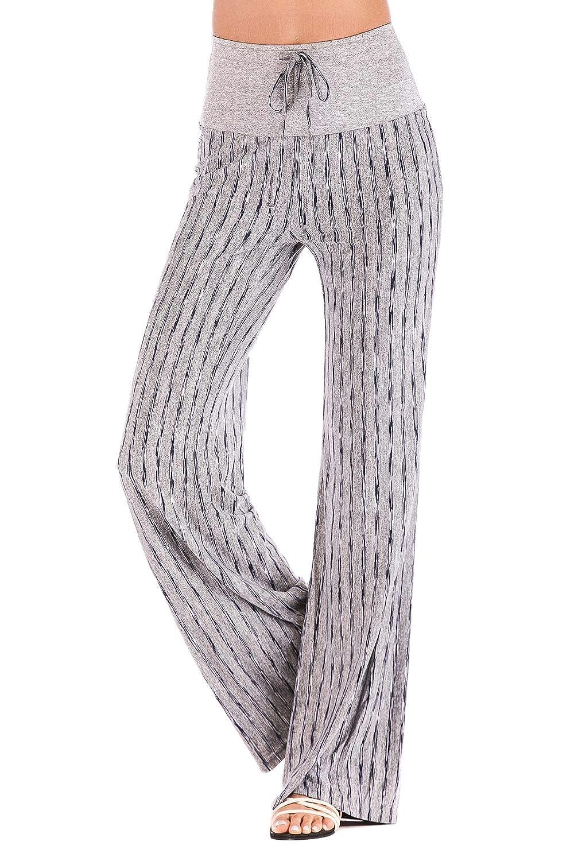 YACUN Pantalones De Pierna Ancha Palazzo Yoga Rayas Cintura ...