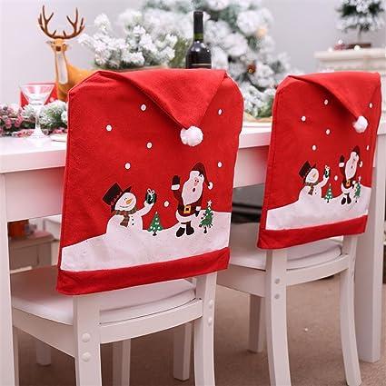 2pcs Noel Housse De Dossier De Chaise Decoration Housse De Chaise