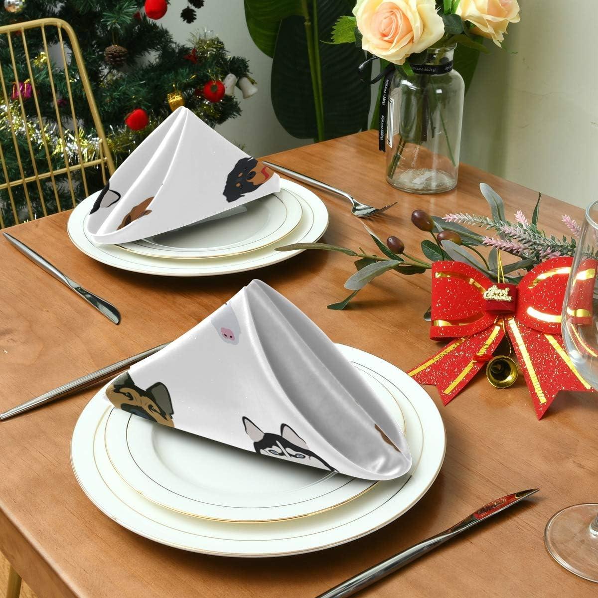 JIRT Serviettes en Tissu /à Motif Animal Mignon Lavable D/îner en Douceur R/éutilisable Table Party
