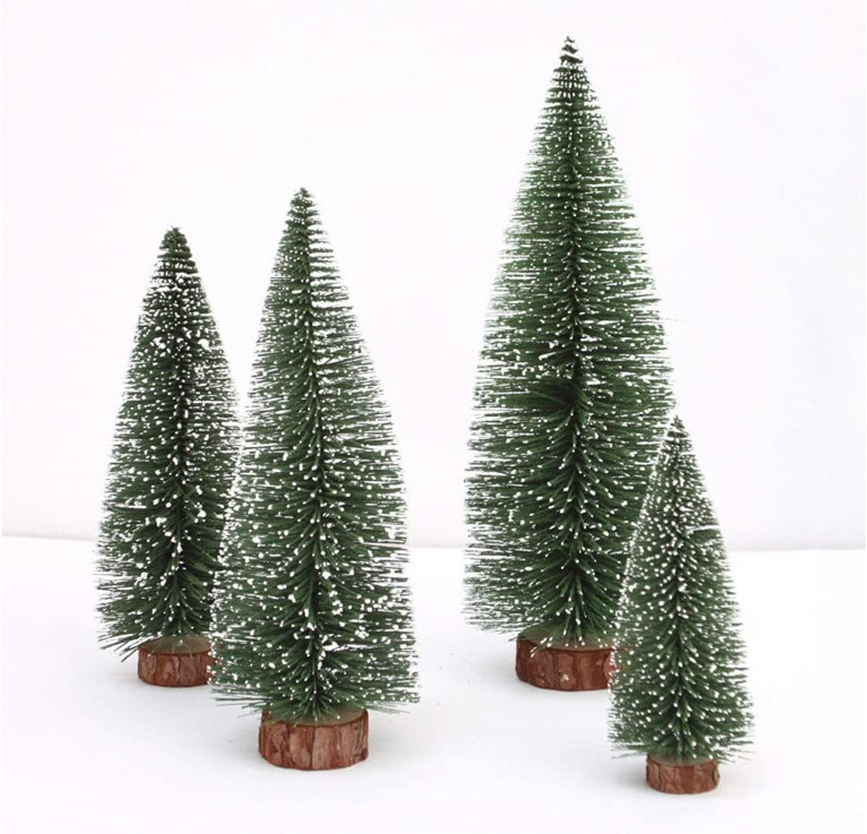OLOPE Mini Christmas Tree, White Cedar Desktop Small Christmas Tree,Mini Pine Tree, Desktop Mini Decoration Trees for Christmas Projects Fairy Garden Snow Globes (10CM)