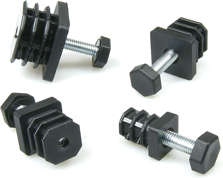 Kunststoff schwarz Gewindestopfen 40x40 mm Einsteckbuchse f/ür Vierkantrohr mit Stellfu/ß Schraub Fu/ß quadratisch