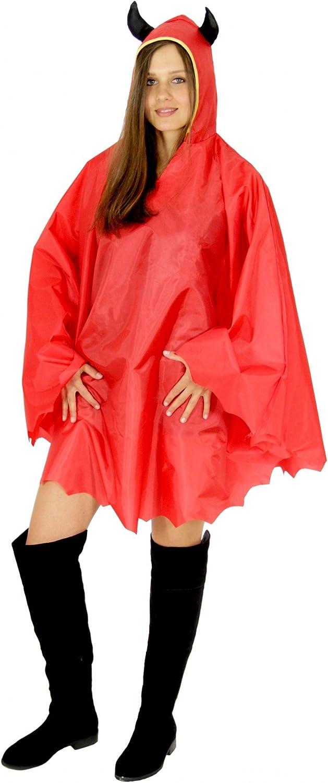 Teufel Party Poncho für Erwachsene Karneval Halloween Regen Cape Umhang