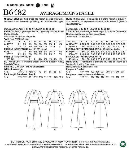 Amazon.com: Butterick Patterns B6482 A5 Misses\' Raglan Sleeve Dress ...