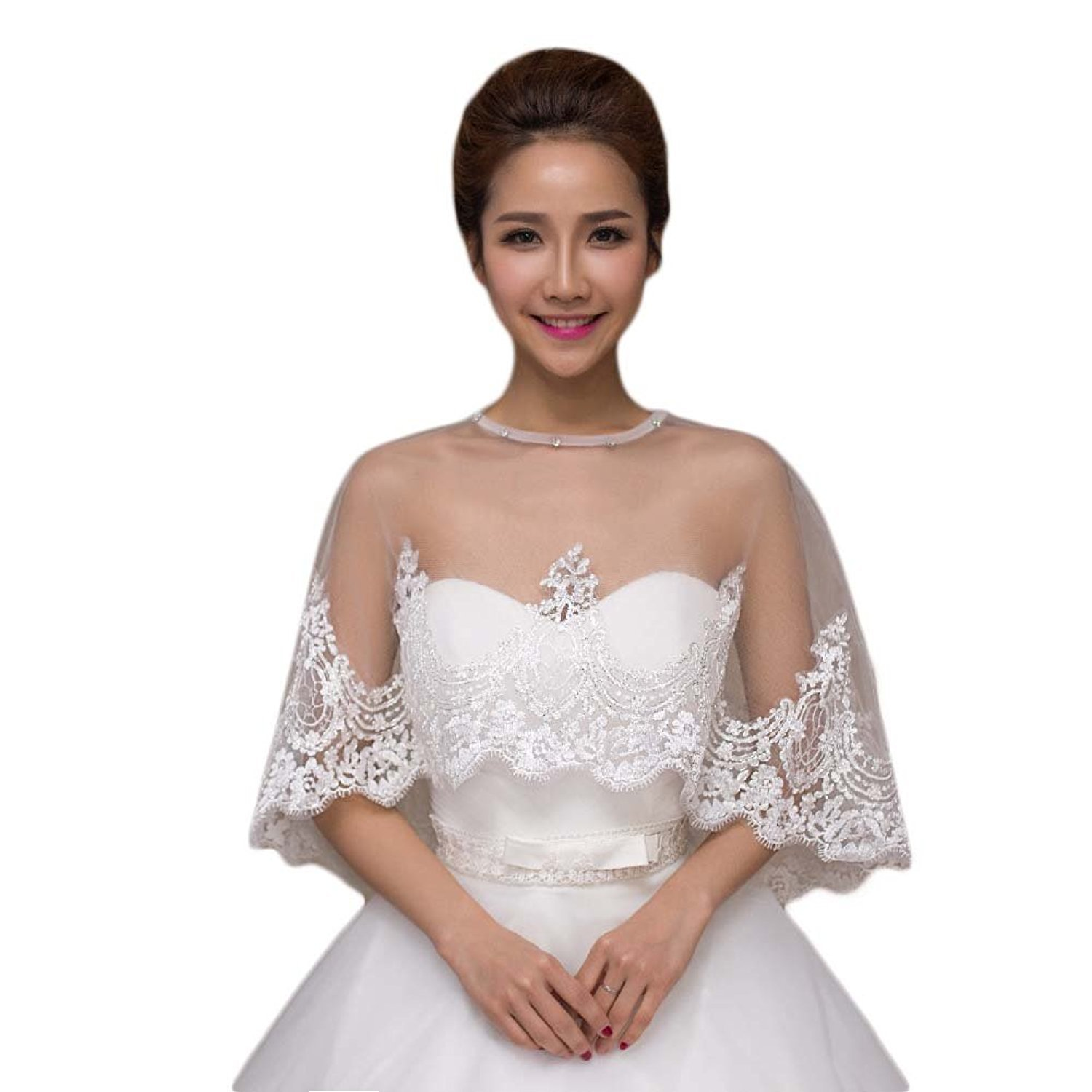 SlenyuBridal Women's 2018 New Wedding Jackets Lace Bridal Bolero Shawl with Beads (One Size, White Two)