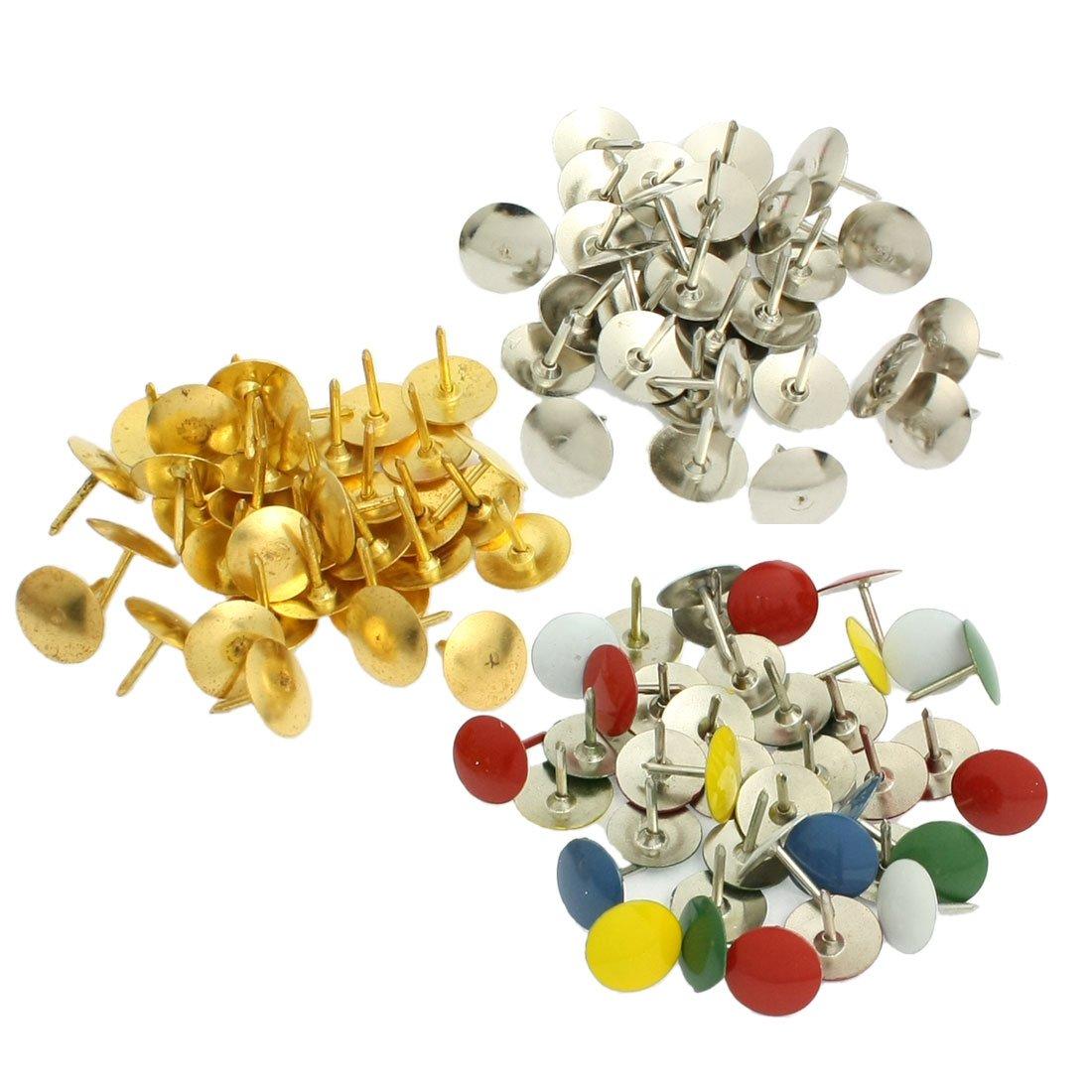 Puntine in metallo con testa rotonda multicolore per appendere foto in bacheca di sughero, confezione da 90 pezzi confezione da 90pezzi SourcingMap a13010200ux0397