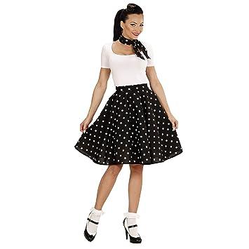 WIDMAN 50s Lady Disfraz Lunares falda y bufanda Set Adultas, Negro ...