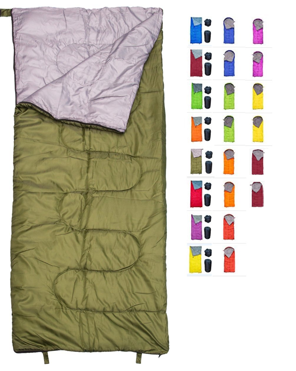 REVALCAMP Lightweight Sleeping Bag - Army Green - Indoor & Outdoor use. Great for Kids, Teens & Adults. Ultra Light and Compact Bags are Perfect for Hiking, Backpacking, Camping & Travel.