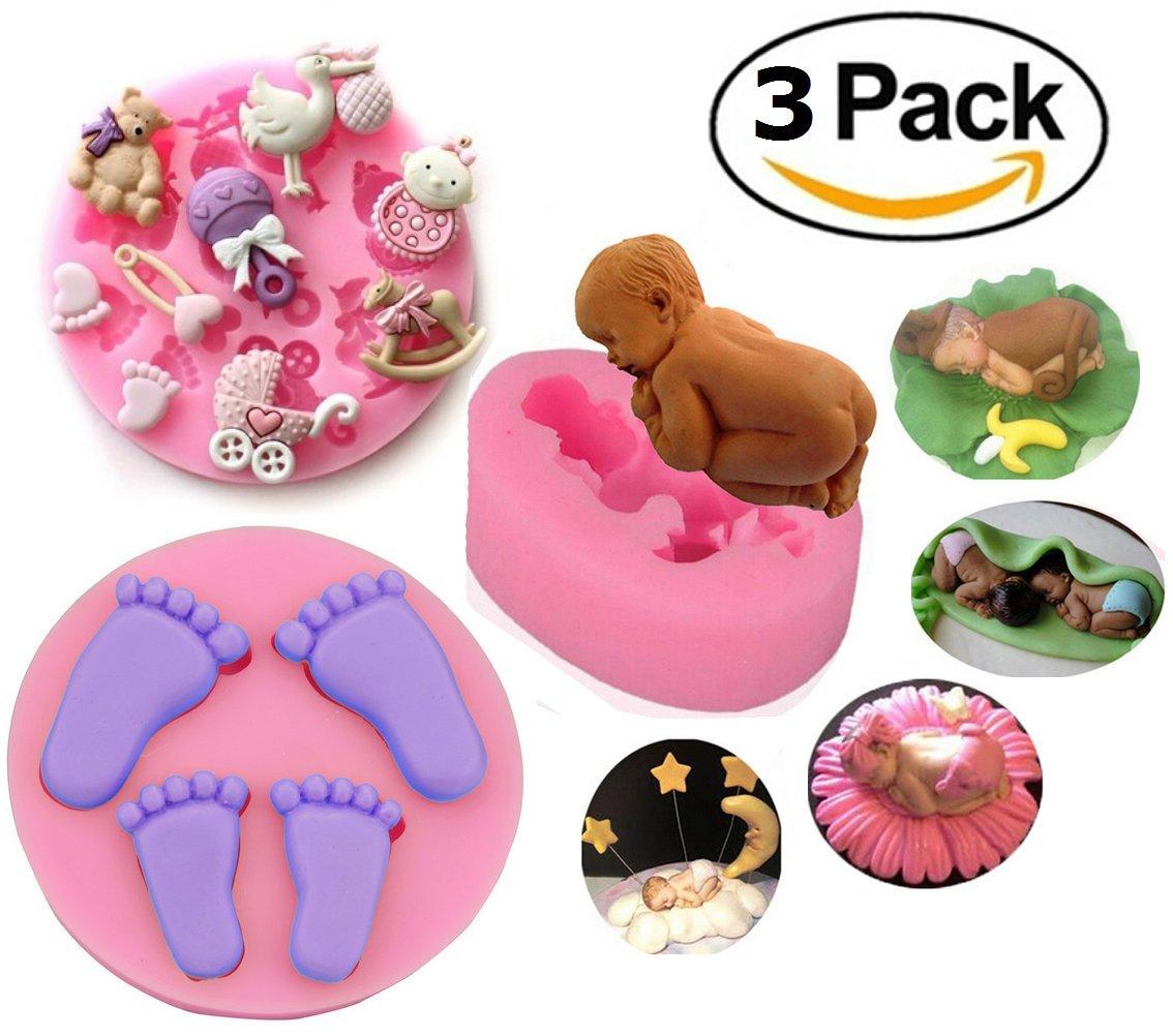 Mity Rain Baby Cake Fondant Mold,3D Silicone Baby Feet,Sleeping Baby, Baby Shower Theme Cake Decorating Mold,Chocolate Mold Baking Tool, Set of 3