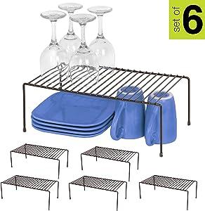 Smart Design Cabinet Storage Shelf Rack - Large (8.5 x 16 Inch) - Non-Slip Feet - Steel Metal Frame - Rust Resistant Coating - Cup, Dish, Counter & Pantry Organization - Kitchen [Bronze] - Set of 6
