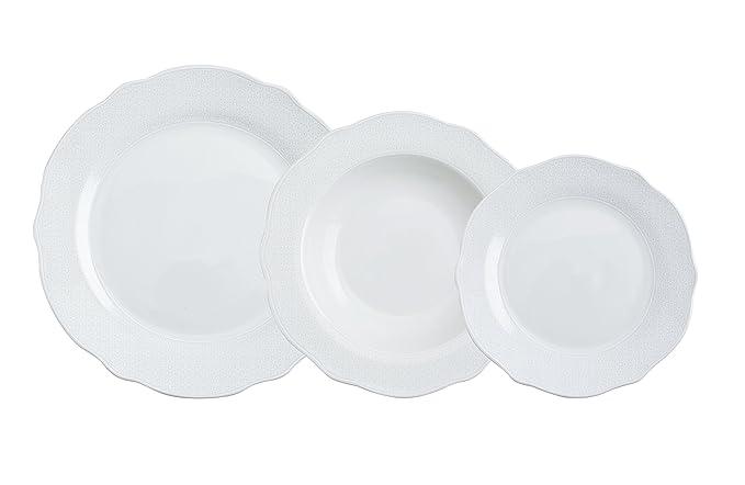 Bidasoa Vajilla 18 Piezas Porcelana Ottoman White, Blanco, 0 cm, Unidades: Amazon.es: Hogar