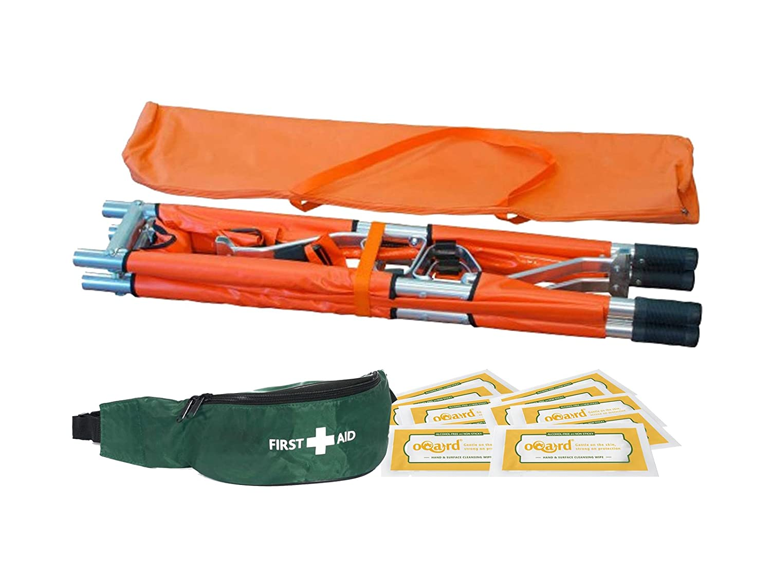 Blue Lion Two-Fold Stretcher with First Aid Bum Bag and Oqard Cleansing Wipes Muzamedical