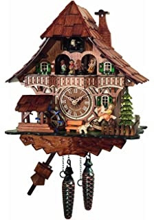 Traditional Cuckoo Clock Black Forest House With Dancers [Kitchen U0026 Home]