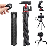 ULANZI Camera Tripod w Remote Control, Flexible Tripod Stand with Hidden Phone Holder w Cold Shoe Mount, 1/4'' Screw for…