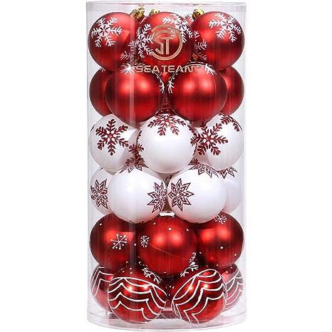 Sea Team 30 Stück Weihnachtskugeln Box Christbaumschmuck aus Kunststoff bis Ø 6 cm Glänzend Glitzernd Weihnachten Deko Anhäng