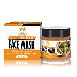 Natrulo Turmeric Face Mask - Skin Brightening Mask with Turmeric and Bentonite Clay - All-Natural Face Mask for Acne Treatment - Boosts Circulation and Removes Toxins - Detox Clay Face Mask