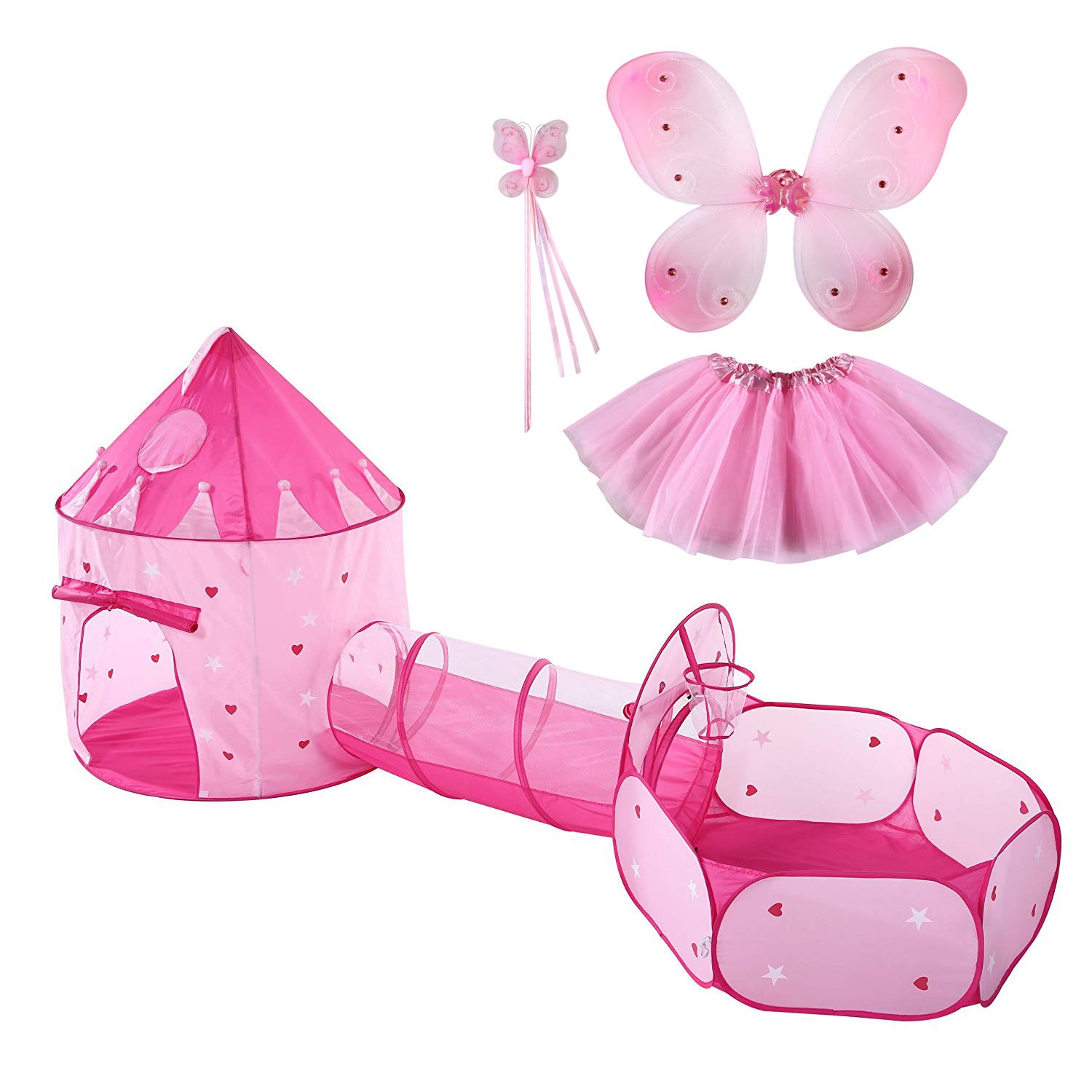 LyButty 3pc Kids Play Tent Crawl Tunnel and Ball Pit Pop Up Kids Playhouse Indoor/Outdoor Use,Bonus Butterfly Fairy Tutu Dress Up Costume Set Great Present for Girls(Stars Glow in The Dark