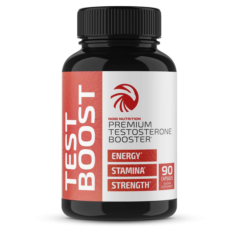 Nobi Nutrition Premium Testosterone Booster for Men - Male Enhancing Pills - Enlargement Supplement - Increase Size, Strength and Stamina - Energy, Fat Burner, Endurance Test Boost - 90 Capsules