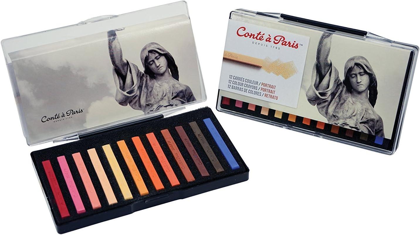 Limited Edition Cont/é /à Paris Colored Crayons Set with 12 Assorted Portrait Colors