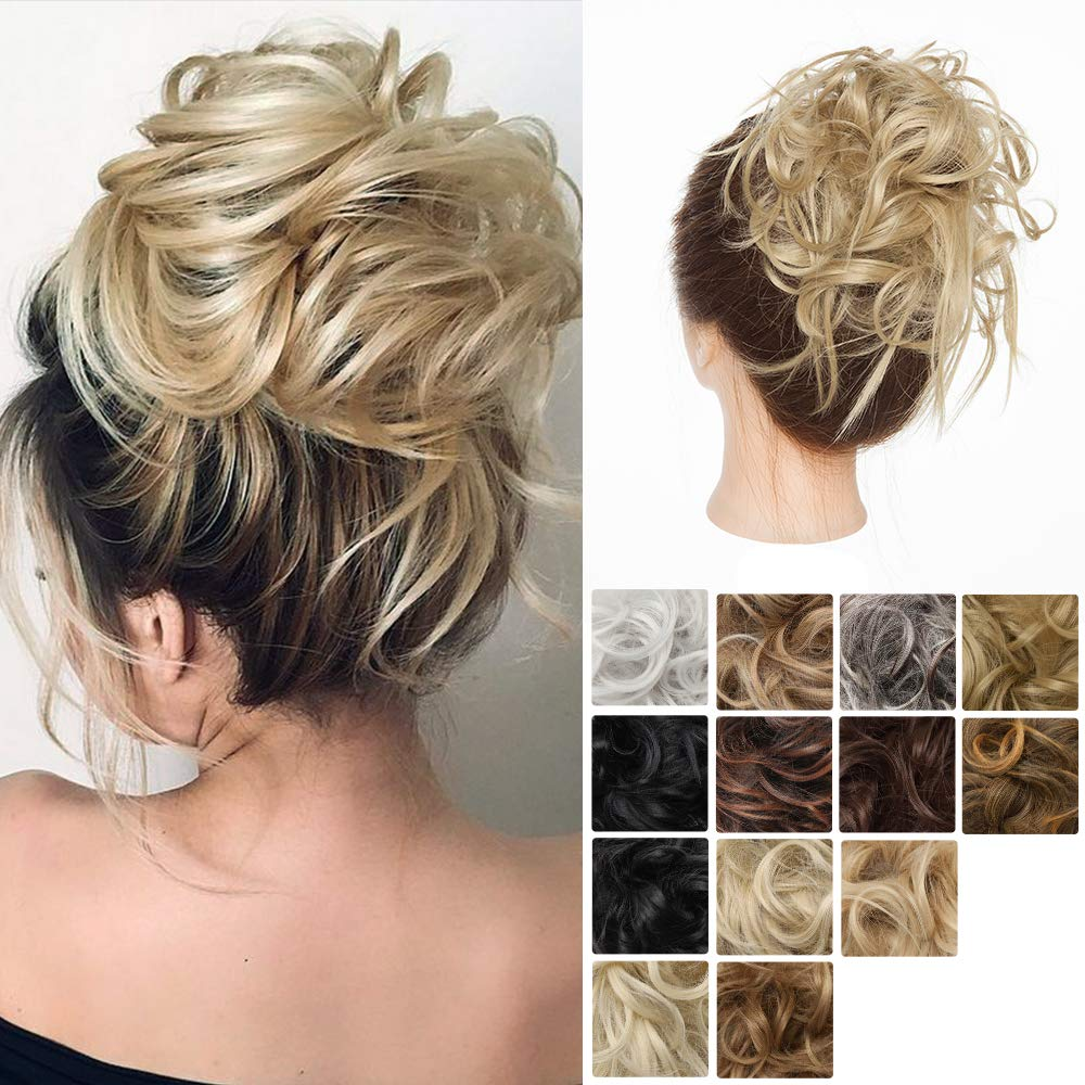 Messy Hair Bun Fluffy Tousled Synthetic Scrunchy With Elastic Rubber Band Chignon Premium Wrap On Instant Ponywrap Hair Pieces #24 ash blonde by Hairro