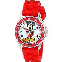 Disney Mickey Mouse MK1239 Time Teacher Reloj con correa roja de goma, niños