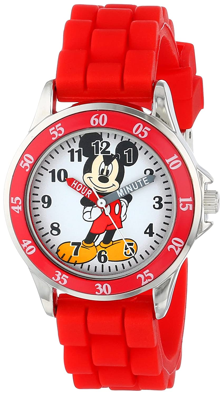 disney kids 39 mk1239 time teacher mickey mouse watch with red rubber strap