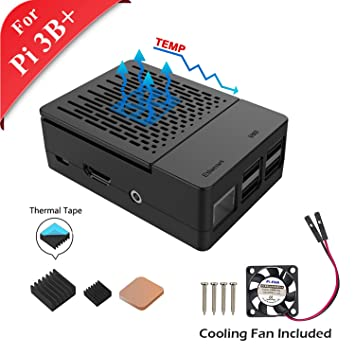 GeeekPi Case Raspberry Pi 3 Model B+ (B Plus) Cooling Fan 3PCS Heatsinks on
