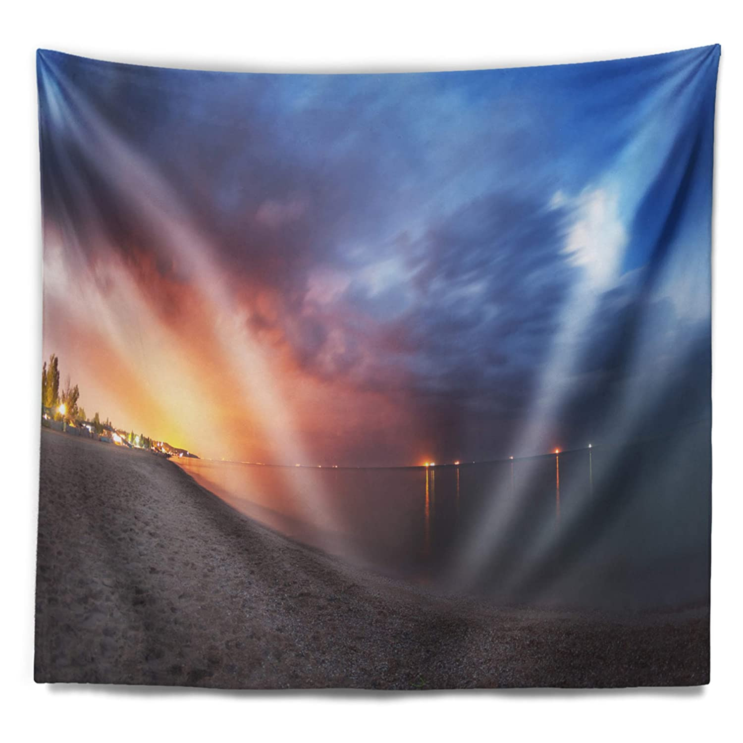 Designart Tap9353 39 32 Summer Night With Blue Sky Skyline Photography Blanket Décor Art For Home And Office Wall Tapestry Medium X 32 In 39 In Created On Lightweight Polyester Fabric