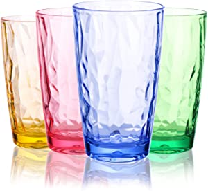 CYKK Colored Plastic Cups Drinking Glasses | Set of 4 | 16OZ | Unbreakable Pint Glasses| Highball Tumbler | Perfect for Home, Restaurants and Parties | Dishwasher and Microwave Safe (16oz COLOR)