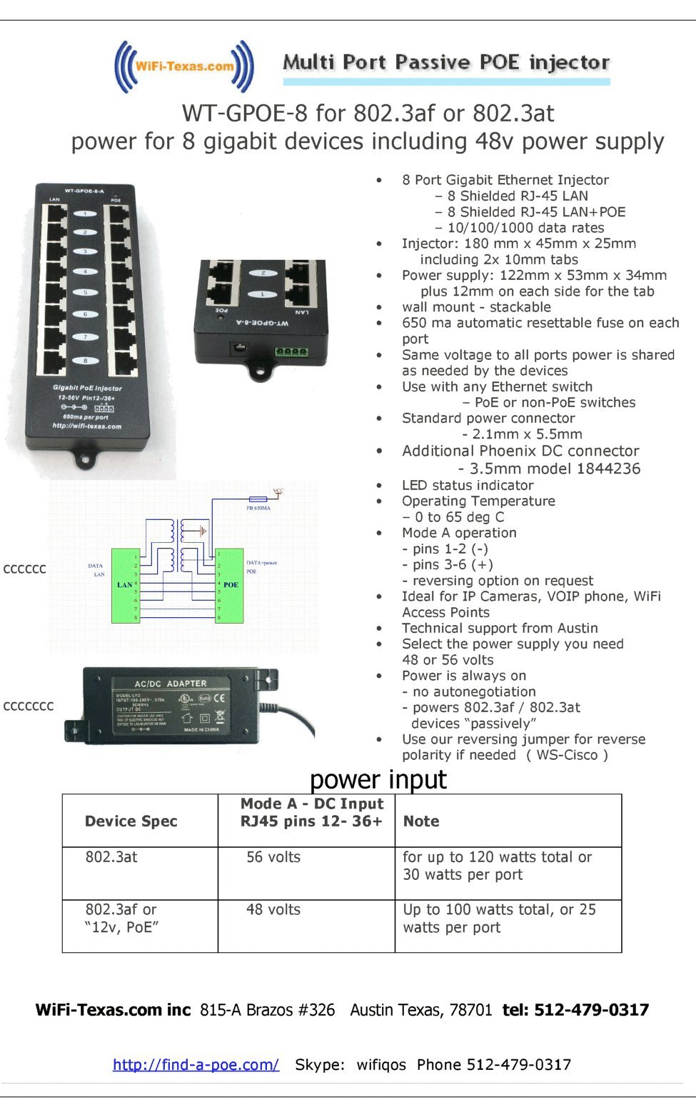 WT-GPOE-8 Multi Port Gigabit PoE Injector with 8 Ports for Power and Data To 8 Devices, Add Power over Ethernet To Any Switch-NOT INCLUDED.Use with External Power Supply for Passive or 802.3af Devices by WiFi-Texas (Image #3)