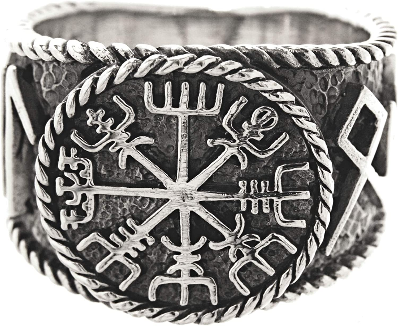 54-74 Kiss of Leather Ring Wikingerkompass Vegvisir aus 925 Sterling Silber Gr