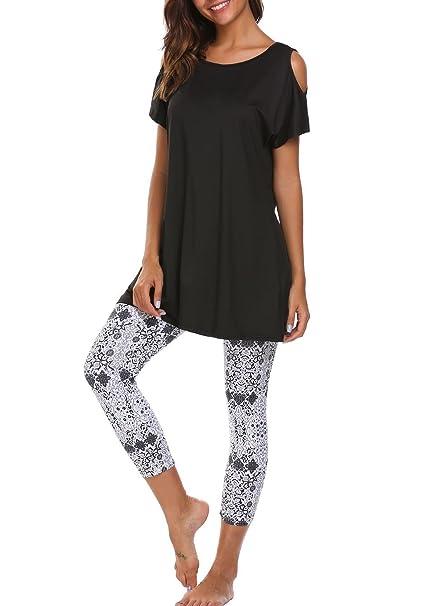 Ekouaer Ropa Interior de Casa Mujer 2 Piezas Estampado Pijama Camison(Negro XXL)