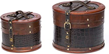 2x Koffer Holzkoffer Holz Antikstil Truhen Beautycase Schatzkiste Kosmetikbox