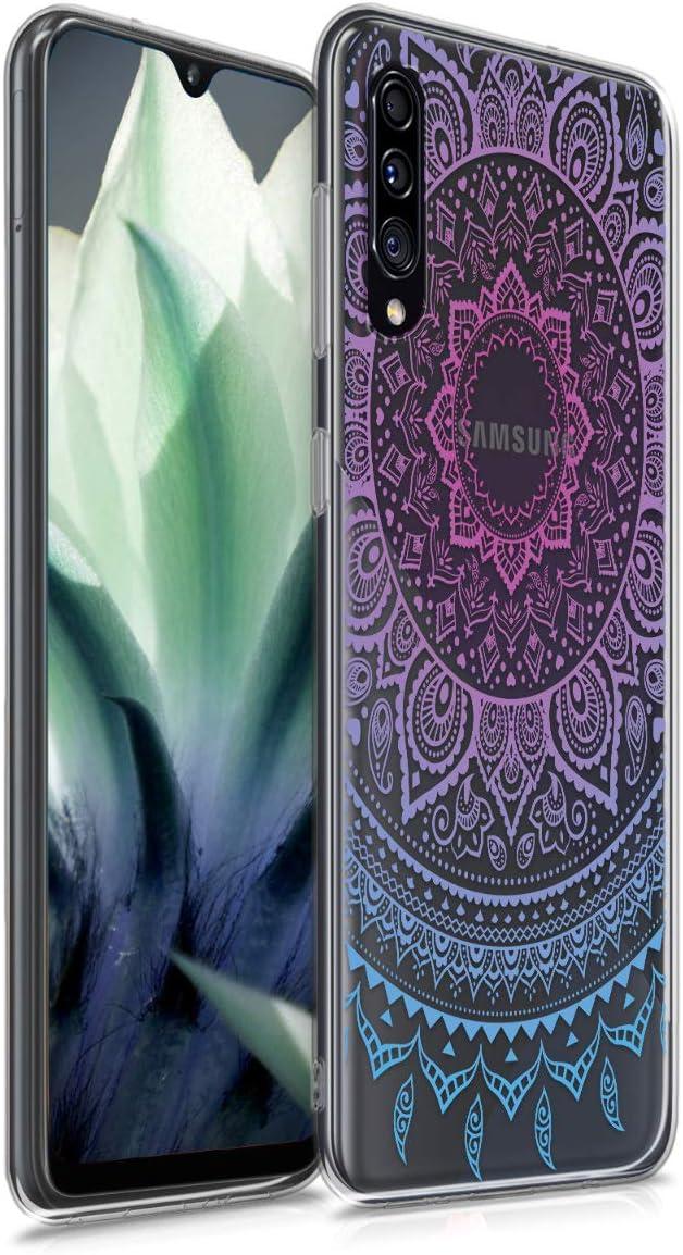 kwmobile Funda Compatible con Samsung Galaxy A30s - Carcasa de TPU y Sol hindú en Azul/Rosa Fucsia/Transparente