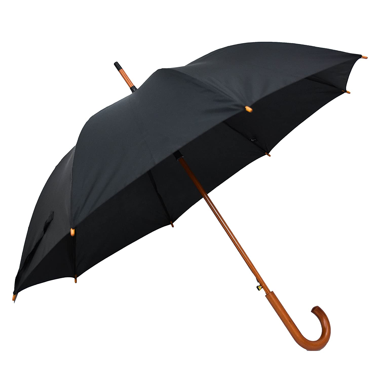 LILAC Classic Wooden Umbrella Auto Open Large Golf Umbrellas for Men  Windproof Waterproof Reinforced Canopy Easy Carrying 47