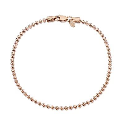 9209982f85981a Amazon.com: Amberta 14K Rose Gold Plated on 925 Sterling Silver 2 mm Ball  Chain Bracelet Length 7