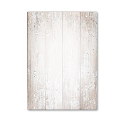 1 Set papel de carta con diseño de madera dv_210, ambos lados, DIN A4, 50 hojas de papel, para invitación, cumpleaños, cartas de restaurante