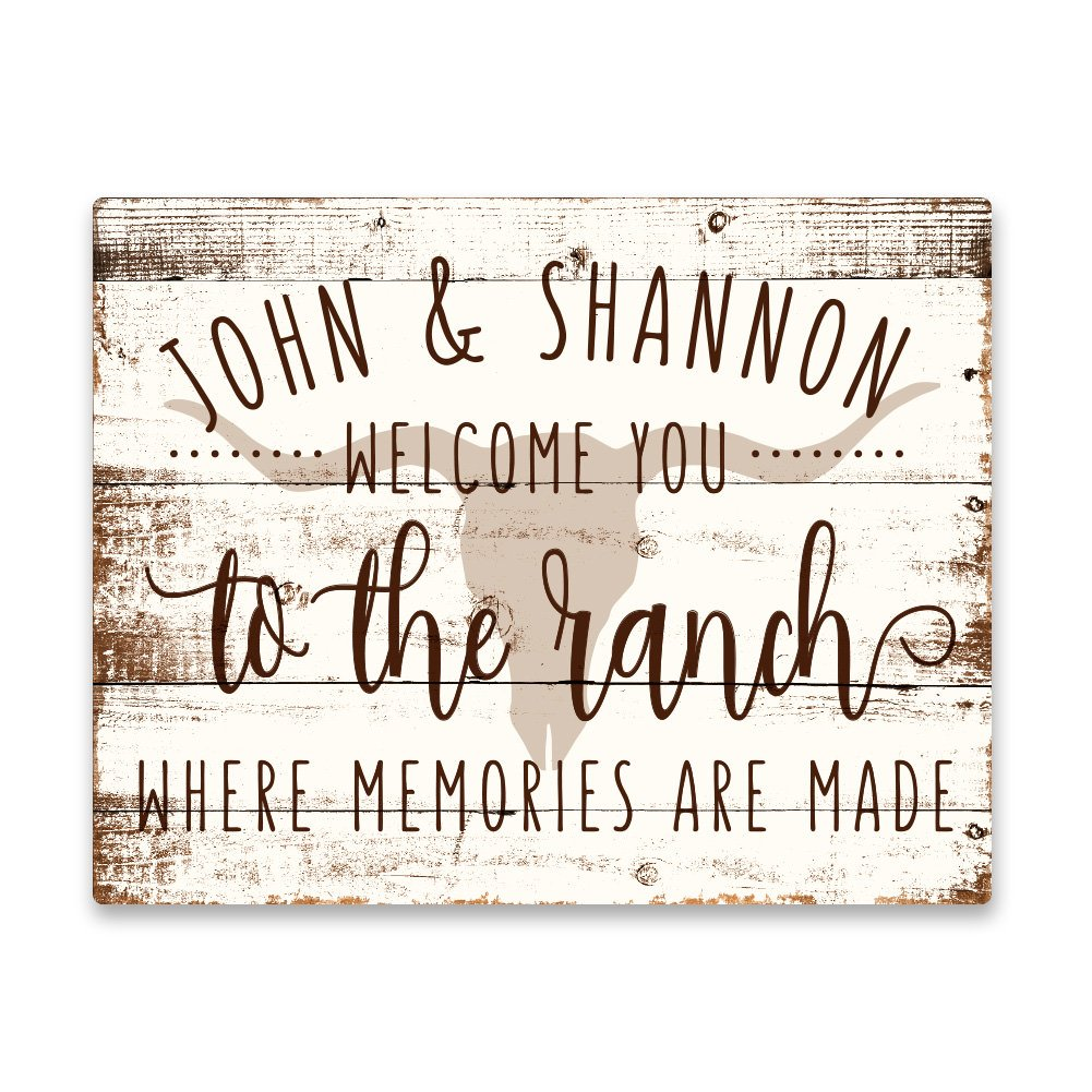 Pattern Pop Personalized Welcome to The Ranch House Aluminum Metal Wall Art