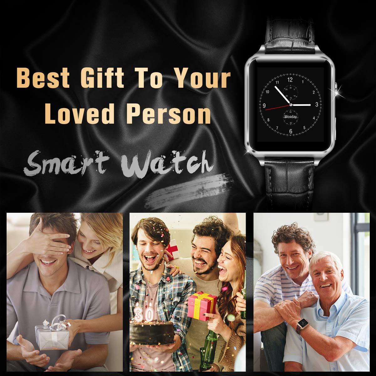 Reloj Inteligente, Smartwatch con Pulsómetro Correa de Cuero Reloj Inteligente Resistente al Agua Fitness Tracker con Cronómetro, Monitor de Sueño ...